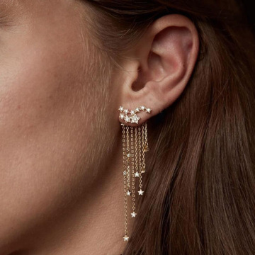 Nya Trendiga Små Stjärnor Tassel Drop Earrings