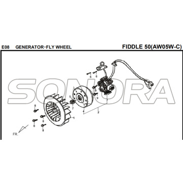 E08 GERADOR RODA FIDDLE 50 AW05W-C Para SYM Spare Part Top Quality