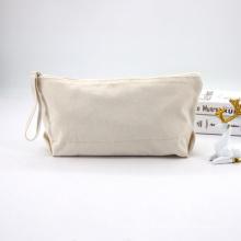 Natural Organic Linen Jute Makeup Travel Brushes Bag Wrist Handle Jelly Plain Cosmetic Bag