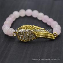 Vente en gros Diamante Gold Wing avec bracelet en pierres semi-précieuses 8MM