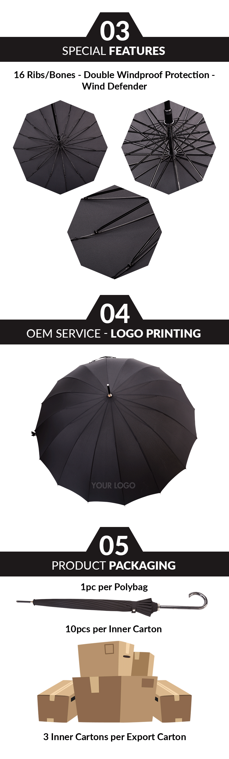 men's black automatic umbrella