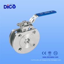 Válvula de esfera fina de aço inoxidável com almofada e punho do ISO 5211