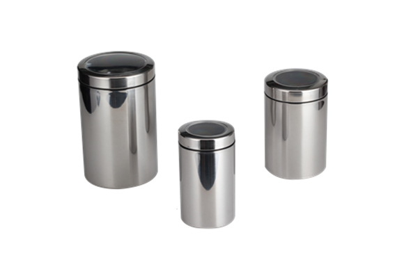 Silver Canister With Transparent Lid