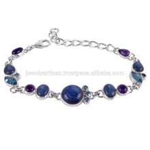 Silver Bracelet with Kyanite, Amethyst and Swiss Blue Topaz
