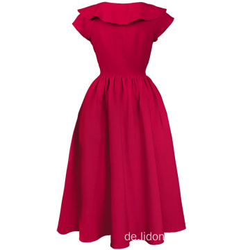 Elegantes Rockabilly Party Swing Kleid mit kurzen Ärmeln