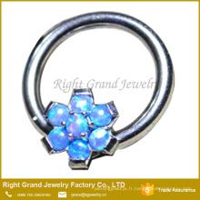 Prong Set Fleur Synthétique Fire Opal Meilleur Ami Nipple Ring