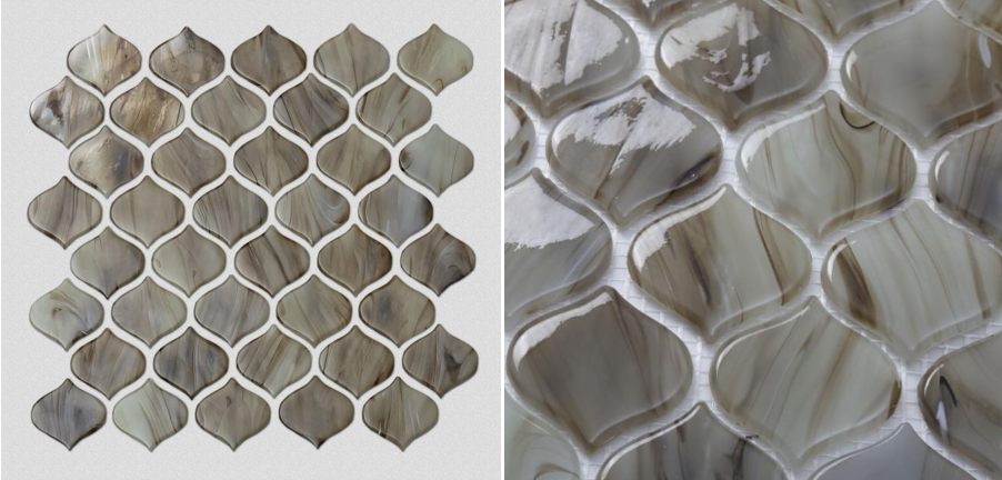 Brown Tan Patterned Glass Mosaic Tiles