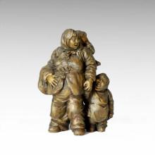 Eastern Statue Mother-Son Village Bronze Sculpture Tple-002