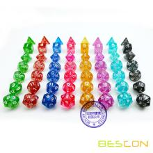 Bescon Assorti Coloré Glitter Polyédéric Dice set de 7pcs, Glitter RPG Dice Set