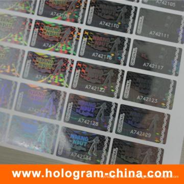 Tamper Evident 2D/3D Transparent Serial Number Hologram Sticker
