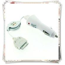 Carregador de carro com ic branco + cabo de dados usb retrátil