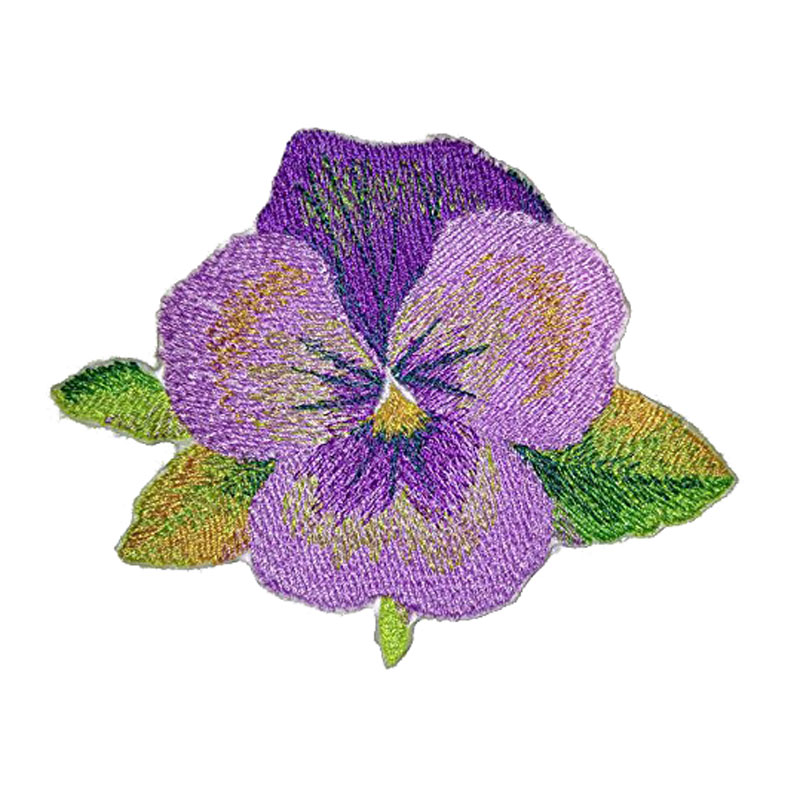 Pansy Embroidered Iron On Patch