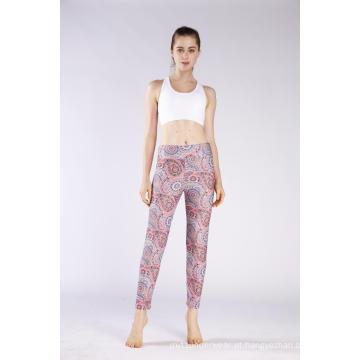 Leggings com impressão elástica feminina de cintura alta