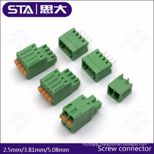 Female pluggable pitch 2.5mm 3.81mm 5.08mm pcb screw/spring terminals block
