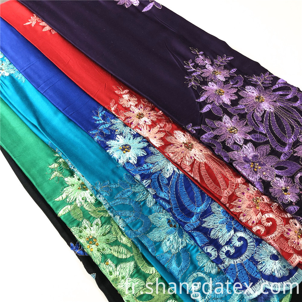 Rayon Satin Normal Dyeing With Embroidery
