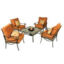 Outdoor/Balkon Möbel 5pc Lamelle Chat set mit Kissen und Feuerungen