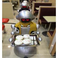 Roboter arbeitet im Eatery statt Kellner / Humanoid Bot Delivery Food