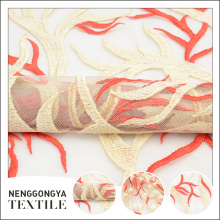 Custom design indian fashion floral tulle embroidery wedding lace fabric