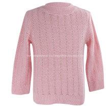 Вязаный пуловер с воротником под горло для девочек