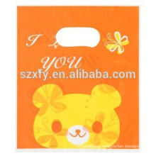 promotional die cut plastic bag/ ldpe custom designer die cut plastic shopping