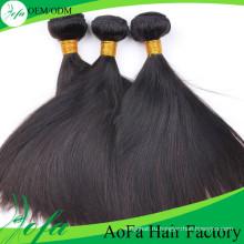7А класс необработанные девственницы бразильские естественные черные прямые волосы сотка