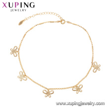 75146 Xuping cercle de mode populaire multiplier papillon bijoux réglable 18k chaînes en or bracelet