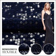 Top quality custom heavy glitter round sequin embroidery velvet fabric