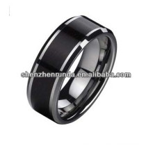 New Product 2014 Tungsten polished shiny no plating ring and wood Inlay