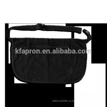 черный короткий фартук-бистро с поясом на молнии