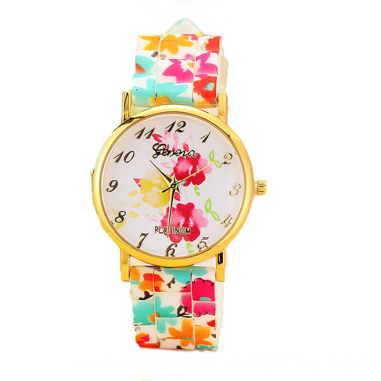 Geneva Flower Pringting Watch