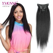 100% девственницы человеческих волос клип в наращивание волос