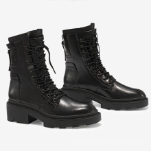 Safety Boots Genuine Leather Western Winter Black Lace up Low Heel Fashion Women Ankle Boots for Women