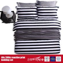 Juego de cama blanco negro impreso 133 * 72 para el hotel / el uso en el hogar