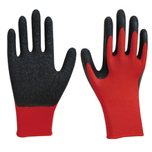 13 G Polyester knit dipped crinkle latex safety gloves