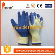 Amarillo Tc Shell Blue Latex Coating Crinkle Finish Guante de trabajo Dkl326