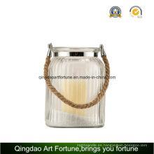 Cuerda manejar la vela de cristal redonda linterna para la decoración