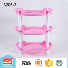 Prateleira de canto plástica elíptica de múltiplos propósitos de 3 camadas para venda