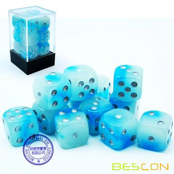 Bescon Two Tone Glowing Dice D6 16mm 12pcs Set of ICY ROCKS, 16mm Six Sided Die (12) Block of Glowing Dice