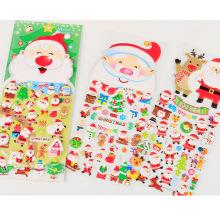 Christmas 3d Cartoon Design Christmas Santa Claus Pattern Gift,Wholesale Custom Foam Cartoon Puffy Sticker