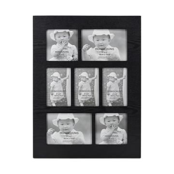 Cadre d'ouverture multiple noir avec 9 images