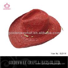 Chapéu de vaqueiro de palha vermelha Chapéu de chapéu legal de palha Chapéu mexicano