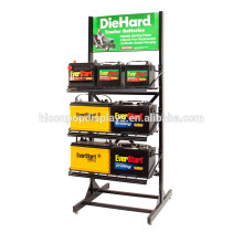 Retail Store Flooring Advertising Battery Rack, Commercial Metal Car Battery Display Stand