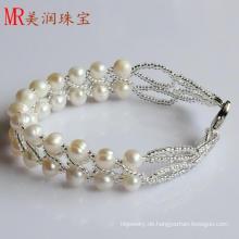 2 Reihen Art und Weise Süßwasser handgemachtes Perlen-Armband (EB1516-1)