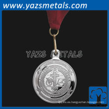 personaliza medallas de metal, medallones personalizados de plata de color de alta calidad con cinta