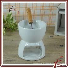 Poêle au chocolat en porcelaine blanc chaozhou avec fourchette
