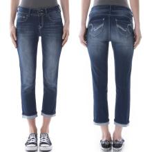 Gros Jeans 3/4 Long Jeans Bleu Pantalon Femme