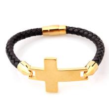 Stainless steel mens leather sideways cross bracelet