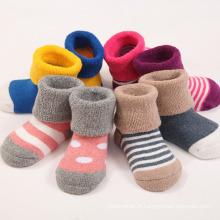 Chaussettes en coton éponge pleine fleur (KA403) pour bébés