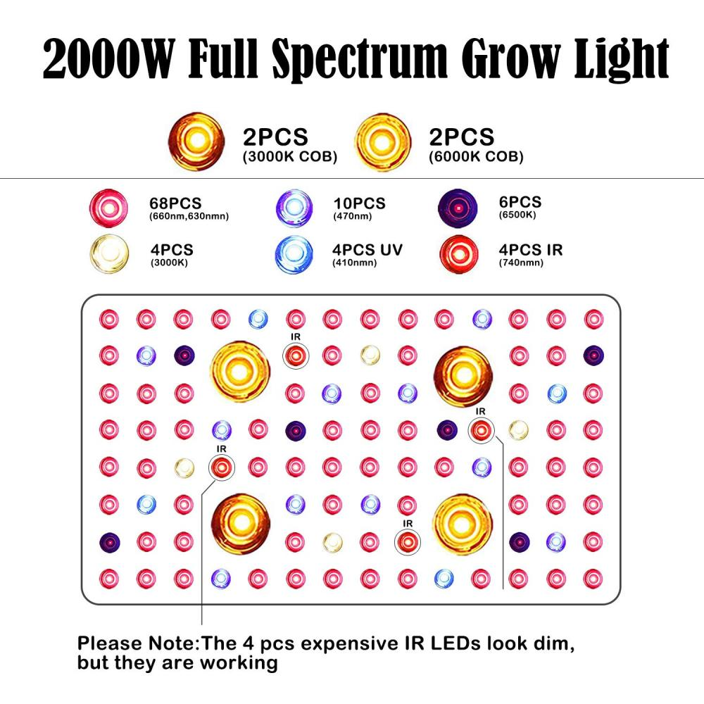 2000w Cob Grow Lights Led