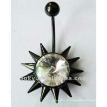 Anillo del ombligo del botón del vientre del acero inoxidable con el Rhinestone Jeweled